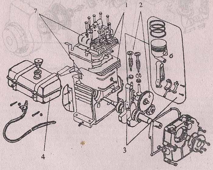 Ремонт мотоблока Крот самостоятельно - схема