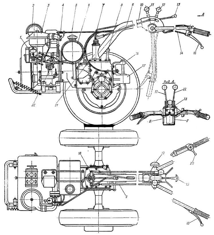 Схема мотоблока (МТЗ-05)