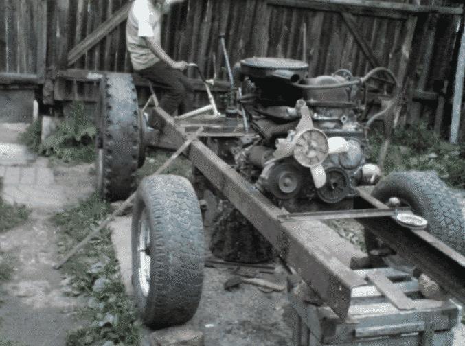Как сделать самодельный трактор из Жигулей, установка двигателя