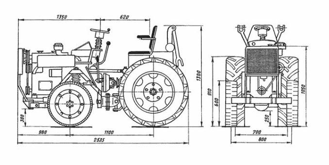Особенности сборки трактора из Жигулей, чертеж